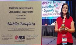 ابنة الريف نبيلة بكلاطة تحصل على جائزة أحسن اطار بيداغوجي بولاية فلوريدا