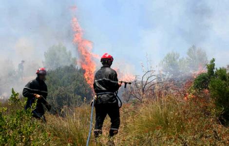 بالفيديو.. حريق مهول قرب المطار الدولي للحسيمة