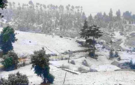 الثلوج تغطي مرتفعات الجهة الغربية من اقليم الحسيمة