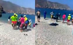 انتشال جثة شخص غرق في شاطئ بادس قبل اسبوع (فيديو)